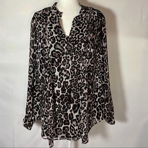 Coldwater Creek Lined Cheetah Print Blouse 2X